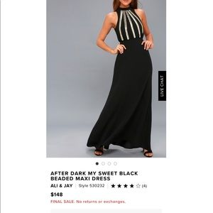 After Dark My Sweet Black Beaded Maxi Dress